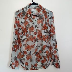 A New Day Button Front Sheer Floral Long Sleeve